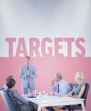 Immagine composita della gente di affari che ascolta nel corso della riunione Fotografie Stock