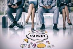 Immagine composita della gente di affari che aspetta per essere chiamato nell'intervista Fotografie Stock