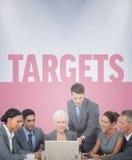 Immagine composita della gente di affari che per mezzo del computer portatile Fotografia Stock Libera da Diritti