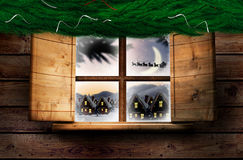 Immagine composita della ghirlanda della decorazione di natale del ramo dell'abete Immagine Stock