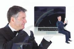 Immagine composita della lettura dell'uomo d'affari Fotografia Stock Libera da Diritti
