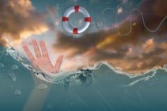 Immagine composita della mano aperta che ondeggia 3d Fotografia Stock Libera da Diritti
