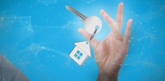 Immagine composita della mano che gesturing contro il fondo bianco 3D Immagini Stock