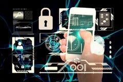 Immagine composita della mano che mostra smartphone 3d Fotografia Stock