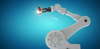 Immagine composita della mano dell'idraulica con l'ingranaggio 3d Fotografia Stock