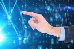 Immagine composita della mano dell'uomo d'affari che indica qualcosa Immagini Stock Libere da Diritti
