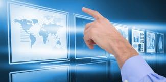 Immagine composita della mano di un uomo d'affari che indica qualcosa Immagine Stock Libera da Diritti