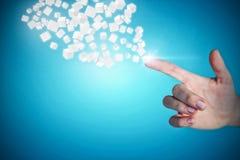 Immagine composita della mano potata della donna che indica 3d Fotografia Stock Libera da Diritti