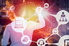 Immagine composita della retrovisione dell'uomo d'affari che finge di toccare schermo invisibile 3d Immagini Stock