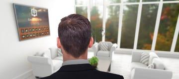 Immagine composita della retrovisione dell'uomo d'affari nella condizione del vestito Fotografia Stock Libera da Diritti