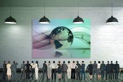 Immagine composita della retrovisione della gente di affari multietnica che sta parallelamente fotografia stock libera da diritti