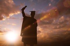 Immagine composita della siluetta del laureato Immagine Stock