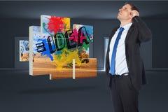 Immagine composita della testa di pensiero di scratch dell'uomo d'affari Fotografia Stock Libera da Diritti