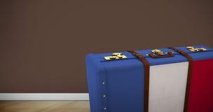 Immagine composita della valigia della bandiera del francese illustrazione di stock