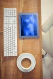 Immagine composita della vista di uno scrittorio di affari Fotografie Stock Libere da Diritti