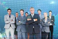 Immagine composita delle armi di condizione del gruppo di affari attraversate Fotografia Stock Libera da Diritti