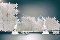 Immagine composita delle armi robot che installa il pezzo blu del puzzle sul puzzle 3d Immagini Stock Libere da Diritti
