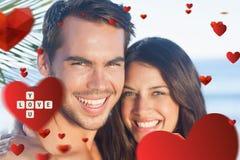 Immagine composita delle coppie amorose allegre che hanno feste Immagini Stock Libere da Diritti