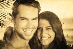 Immagine composita delle coppie amorose allegre che hanno feste Fotografia Stock Libera da Diritti