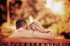 Immagine composita delle coppie anziane che si siedono sul banco con il loro di nuovo alla macchina fotografica Fotografia Stock Libera da Diritti