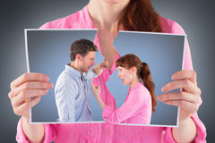 Immagine composita delle coppie che discutono a vicenda Fotografie Stock Libere da Diritti