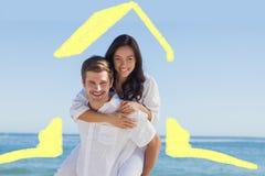 Immagine composita delle coppie felici che sorridono alla macchina fotografica Immagini Stock Libere da Diritti
