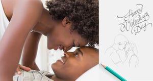 Immagine composita delle coppie intime che scompigliano circa di mattina sul letto Fotografia Stock Libera da Diritti