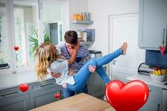 Immagine composita delle coppie nei cuori 3d dei biglietti di S. Valentino e della cucina Fotografie Stock Libere da Diritti