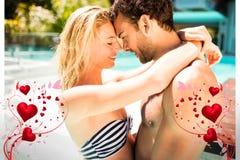 Immagine composita delle coppie nei cuori 3d dei biglietti di S. Valentino e dello stagno Fotografia Stock Libera da Diritti