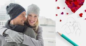 Immagine composita delle coppie sveglie in abbigliamento caldo che abbraccia donna che sorride alla macchina fotografica Fotografie Stock Libere da Diritti