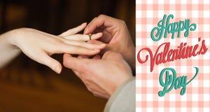 Immagine composita delle coppie sveglie dei biglietti di S. Valentino Fotografie Stock Libere da Diritti