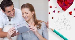 Immagine composita delle coppie sveglie dei biglietti di S. Valentino Fotografia Stock