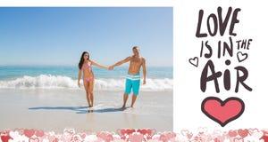 Immagine composita delle coppie sveglie dei biglietti di S. Valentino Immagini Stock Libere da Diritti