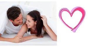 Immagine composita delle coppie sveglie dei biglietti di S. Valentino Immagine Stock