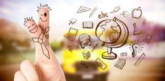 Immagine composita delle dita posate come studenti Immagine Stock