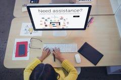 Immagine composita delle icone con il testo di assistenza di bisogno Fotografia Stock Libera da Diritti