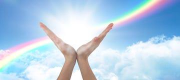 Immagine composita delle mani che gesturing contro il fondo bianco fotografia stock