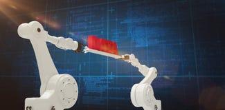 Immagine composita delle mani robot del metallo che tengono il messaggio di dati rosso contro il fondo blu Fotografia Stock Libera da Diritti
