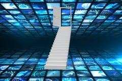 Immagine composita delle scale che conducono alla porta Immagine Stock Libera da Diritti