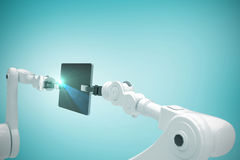 Immagine composita delle tecnologie contro fondo bianco 3d Immagini Stock