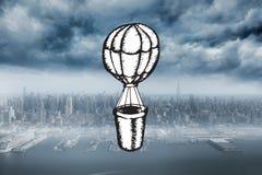 Immagine composita dello scarabocchio della mongolfiera Fotografie Stock