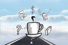 Immagine composita dello scarabocchio della tazza di caffè con le icone di affari Immagini Stock Libere da Diritti