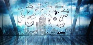Immagine composita dello scarabocchio di paesaggio urbano Immagini Stock