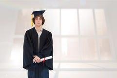 Immagine composita dello studente in abito laureato Fotografia Stock