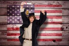 Immagine composita dello studente maschio nel salto laureato dell'abito Fotografia Stock Libera da Diritti
