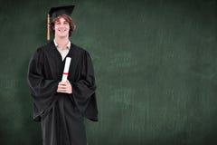 Immagine composita dello studente sorridente in abito laureato Fotografie Stock