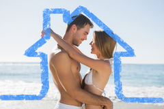 Immagine composita di abbraccio sexy delle coppie Fotografia Stock Libera da Diritti