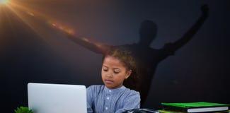 Immagine composita di allungamento della donna della siluetta Fotografie Stock Libere da Diritti