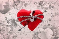 Immagine composita di cuore bloccato 3d Fotografia Stock