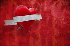 Immagine composita di cuore con il rotolo 3d Fotografia Stock